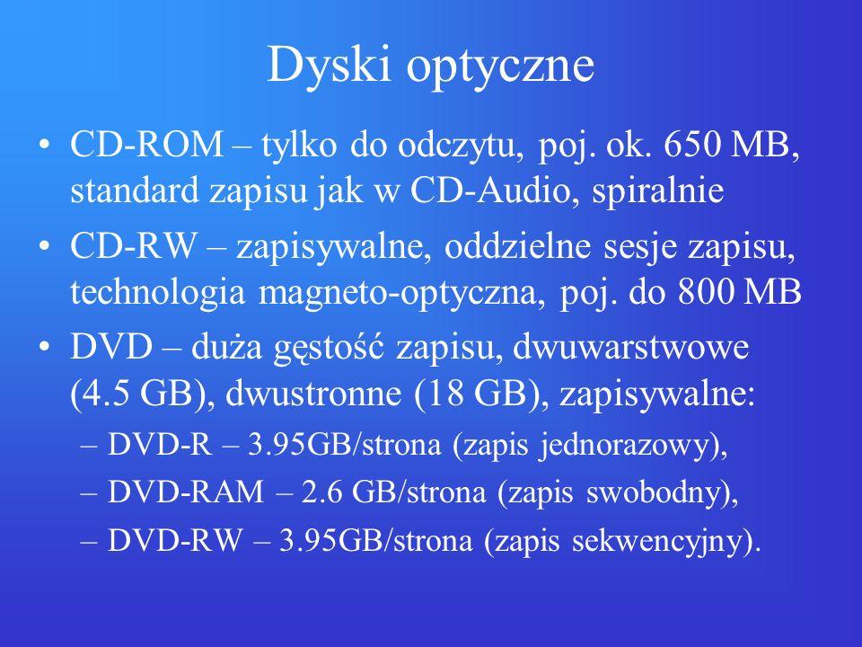 Dyski optyczne CD-ROM – tylko do odczytu, poj. ok. 650 MB, standard zapisu jak w CD-Audio, spiralnie.