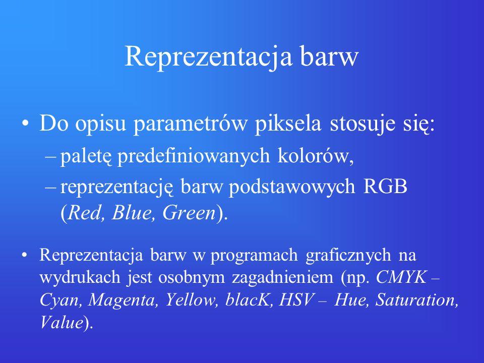 Reprezentacja barw Do opisu parametrów piksela stosuje się: