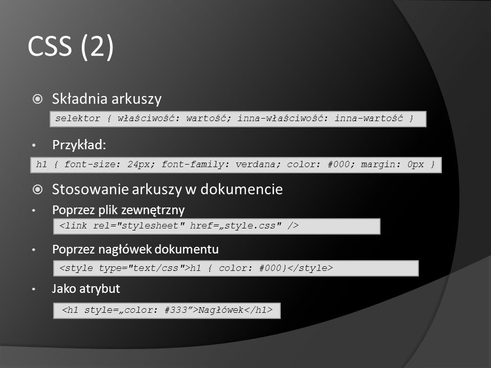 """<h1 style=""""color: #333 >Nagłówek</h1>"""
