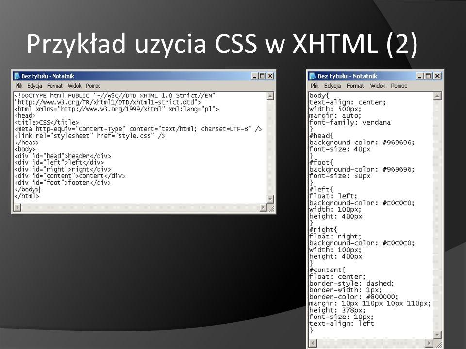 Przykład uzycia CSS w XHTML (2)