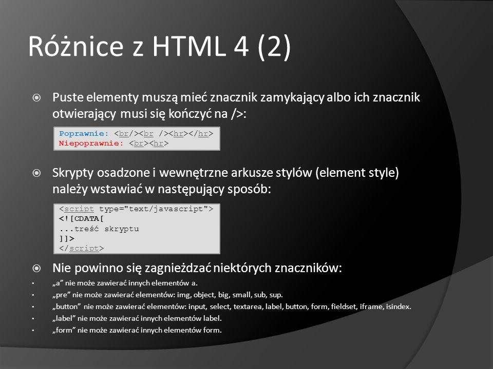 Różnice z HTML 4 (2) Puste elementy muszą mieć znacznik zamykający albo ich znacznik otwierający musi się kończyć na />: