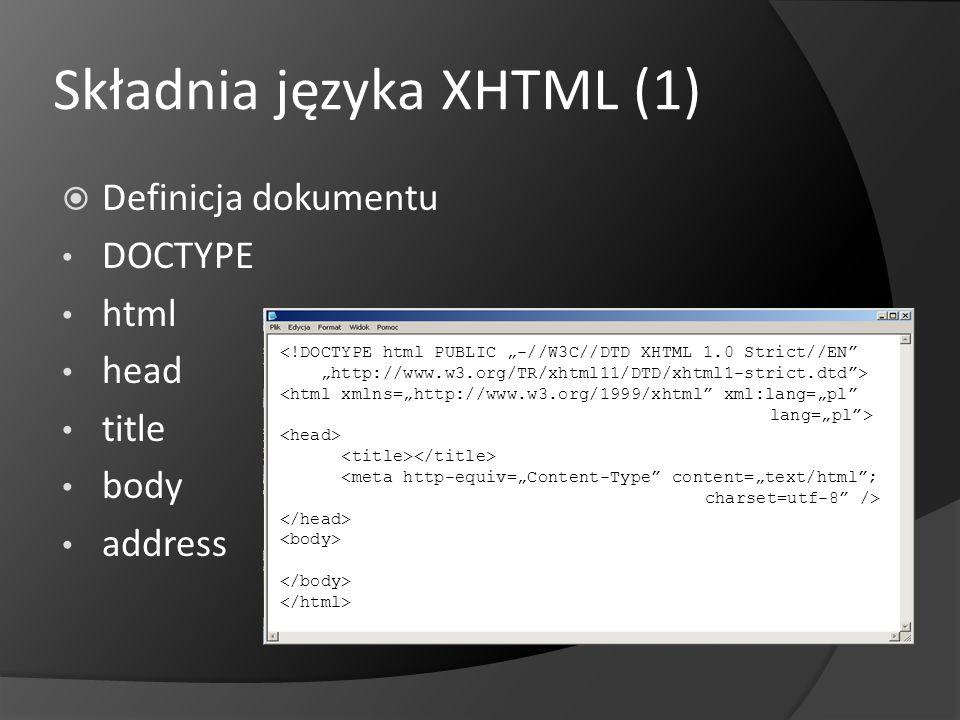 Składnia języka XHTML (1)