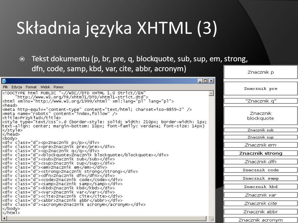 Składnia języka XHTML (3)
