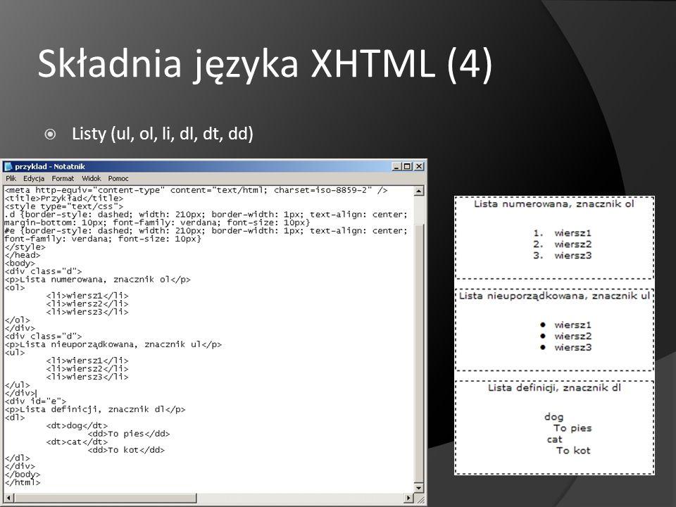 Składnia języka XHTML (4)