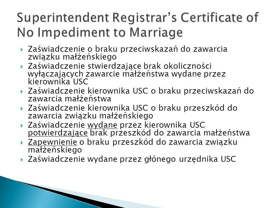 Superintendent Registrar's Certificate of No Impediment to Marriage