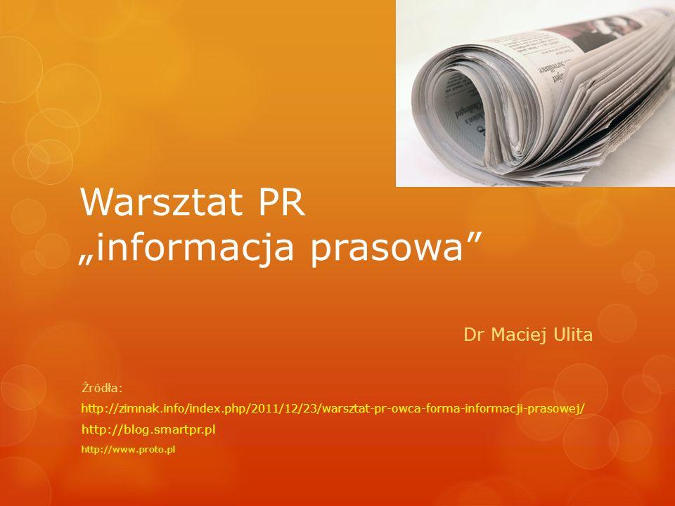 """Warsztat PR """"informacja prasowa"""