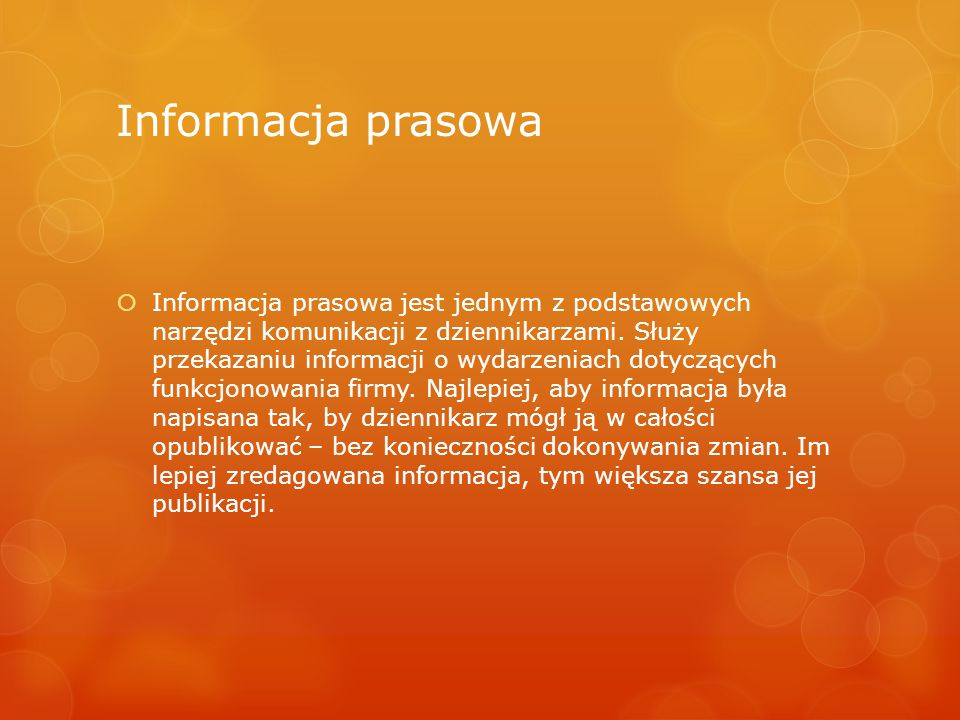 Informacja prasowa