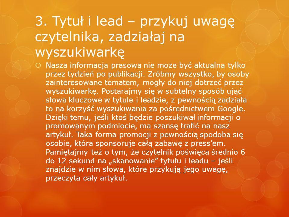 3. Tytuł i lead – przykuj uwagę czytelnika, zadziałaj na wyszukiwarkę