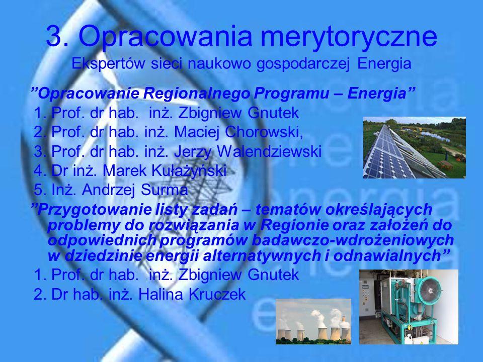 3. Opracowania merytoryczne Ekspertów sieci naukowo gospodarczej Energia