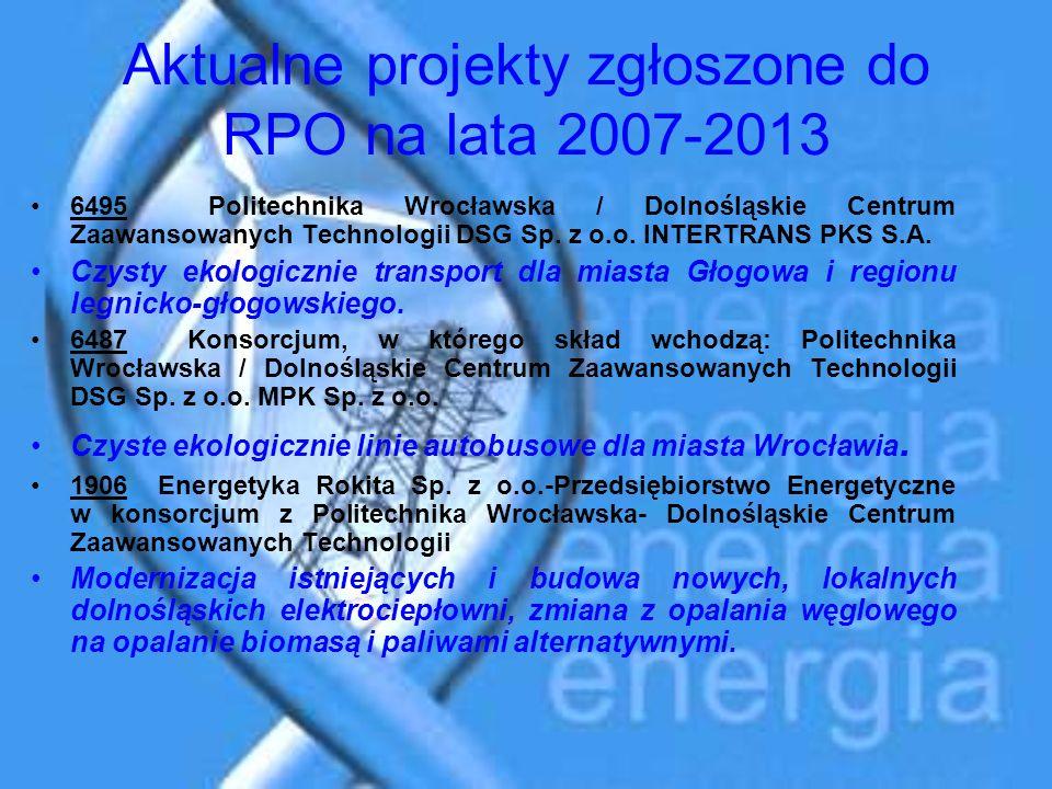 Aktualne projekty zgłoszone do RPO na lata 2007-2013