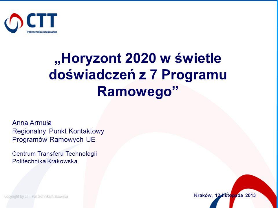 """""""Horyzont 2020 w świetle doświadczeń z 7 Programu Ramowego"""