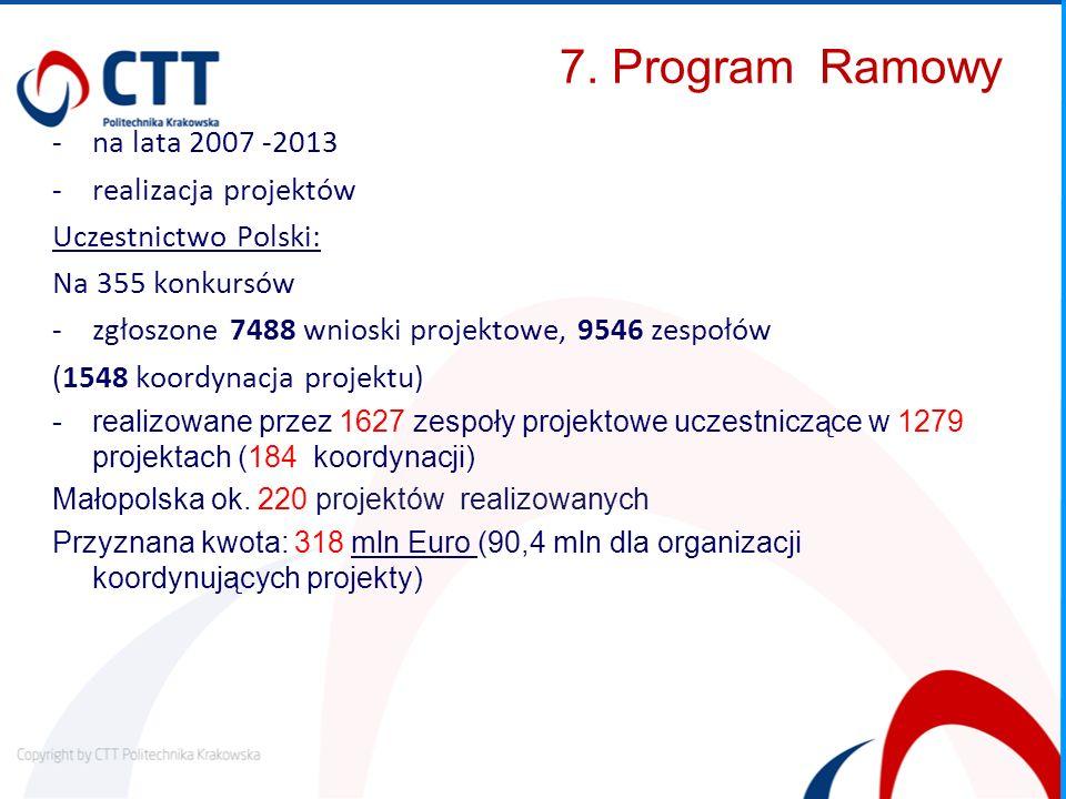 7. Program Ramowy na lata 2007 -2013 realizacja projektów