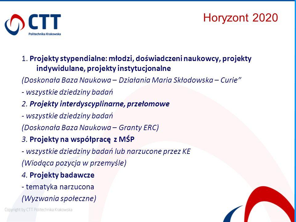 Horyzont 2020 1. Projekty stypendialne: młodzi, doświadczeni naukowcy, projekty indywidulane, projekty instytucjonalne.