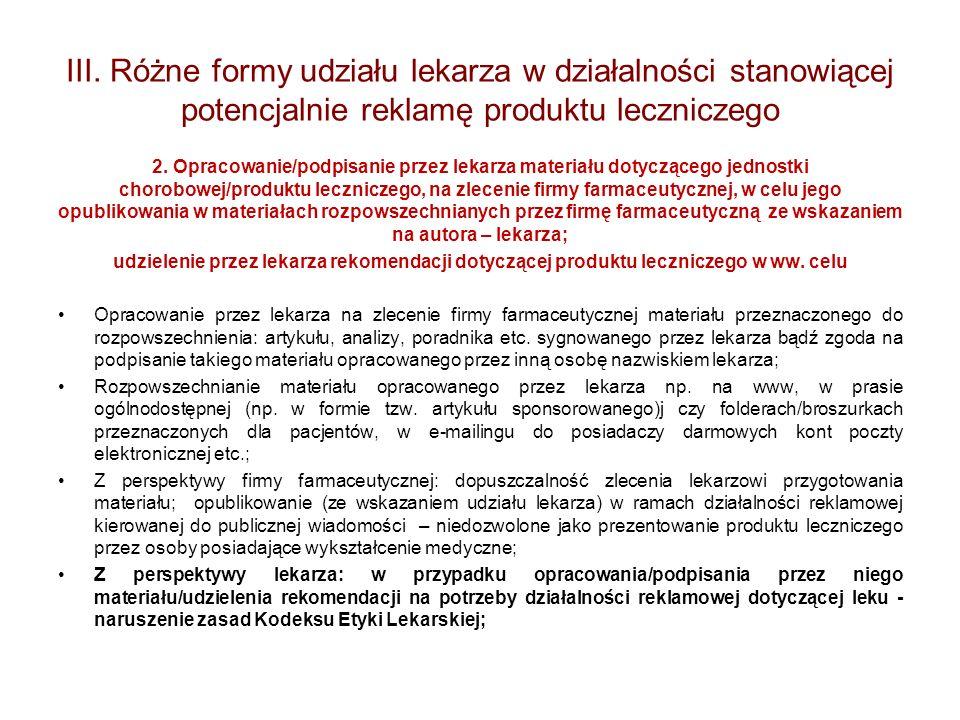 III. Różne formy udziału lekarza w działalności stanowiącej potencjalnie reklamę produktu leczniczego