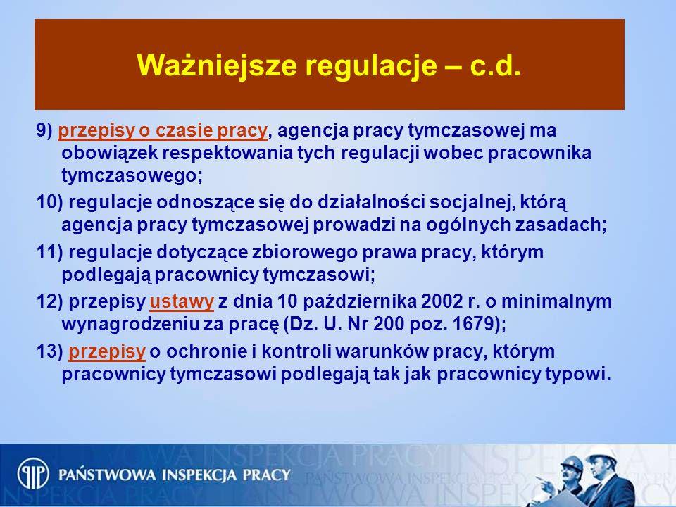 Ważniejsze regulacje – c.d.