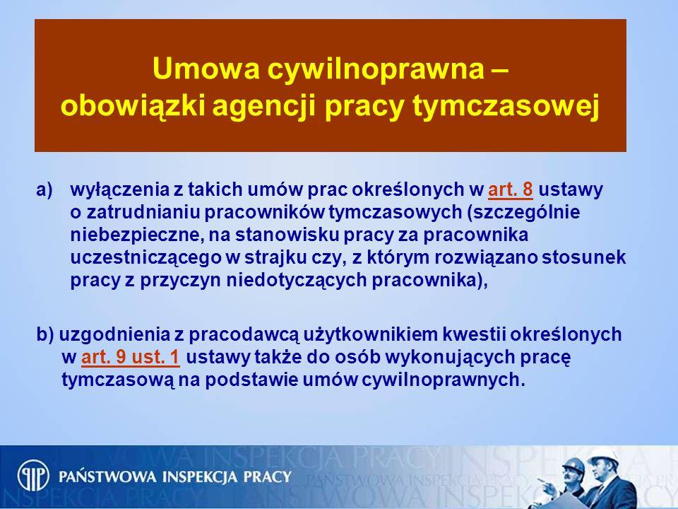 Umowa cywilnoprawna – obowiązki agencji pracy tymczasowej