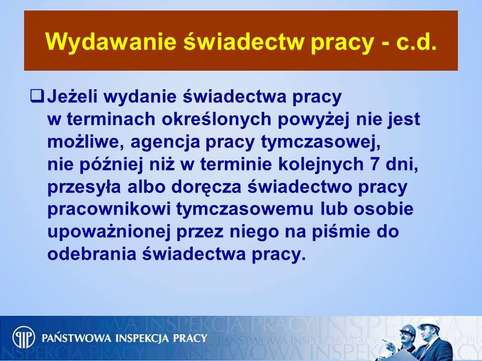 Wydawanie świadectw pracy - c.d.