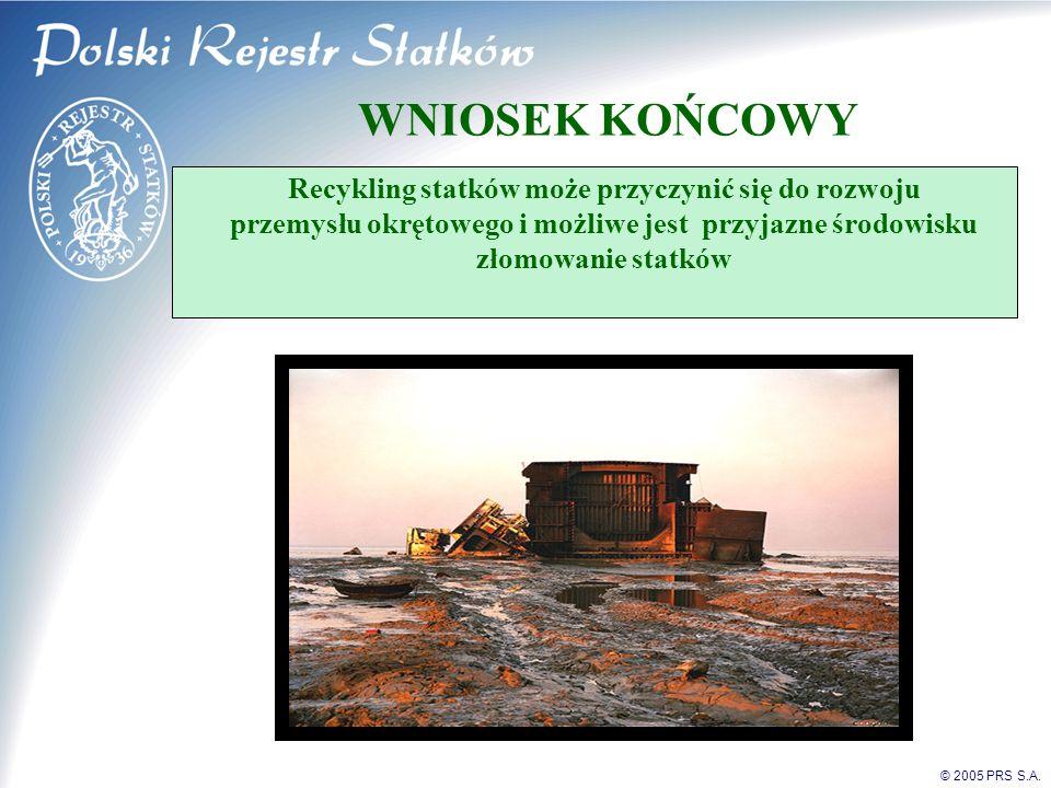 WNIOSEK KOŃCOWY Recykling statków może przyczynić się do rozwoju przemysłu okrętowego i możliwe jest przyjazne środowisku złomowanie statków.