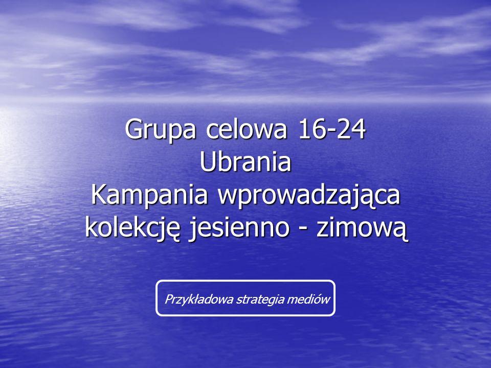 Grupa celowa 16-24 Ubrania Kampania wprowadzająca kolekcję jesienno - zimową