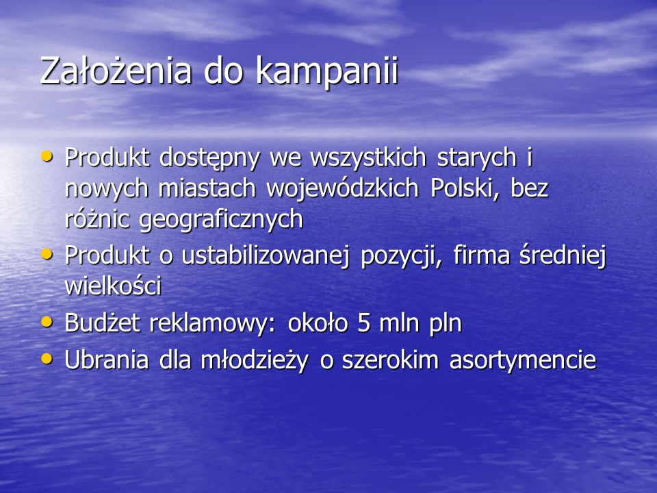 Założenia do kampaniiProdukt dostępny we wszystkich starych i nowych miastach wojewódzkich Polski, bez różnic geograficznych.