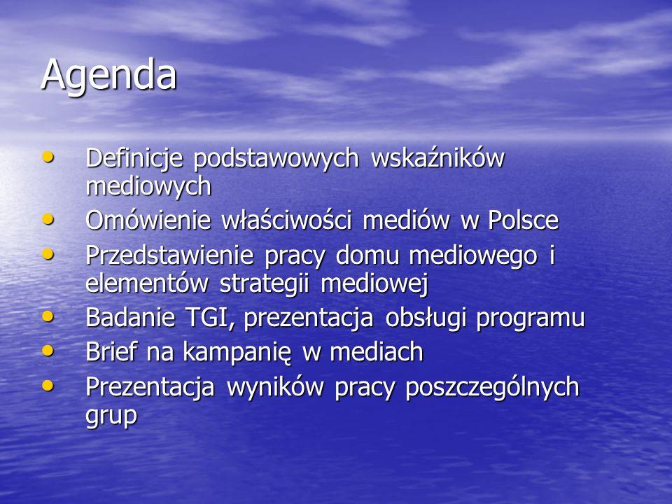 Agenda Definicje podstawowych wskaźników mediowych