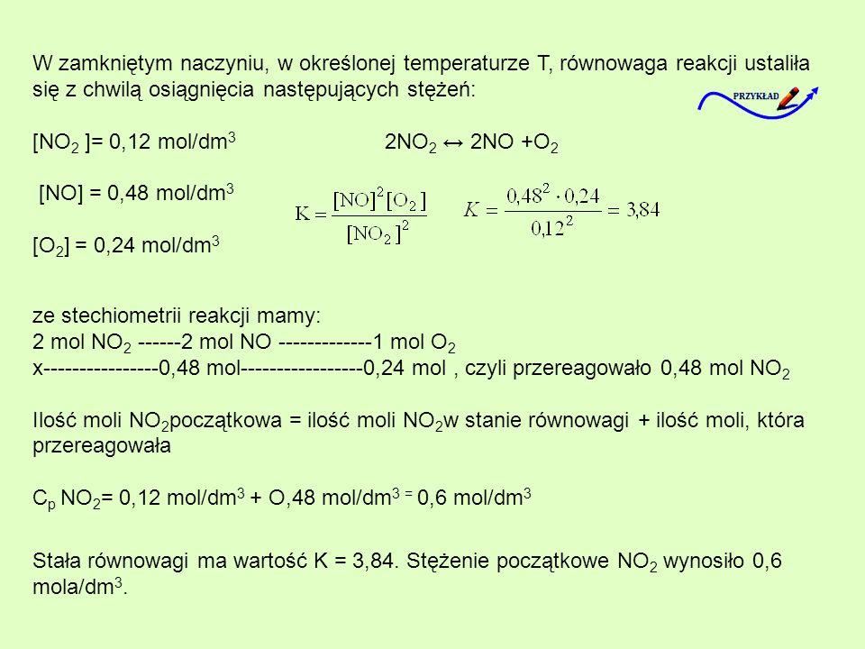W zamkniętym naczyniu, w określonej temperaturze T, równowaga reakcji ustaliła się z chwilą osiągnięcia następujących stężeń: