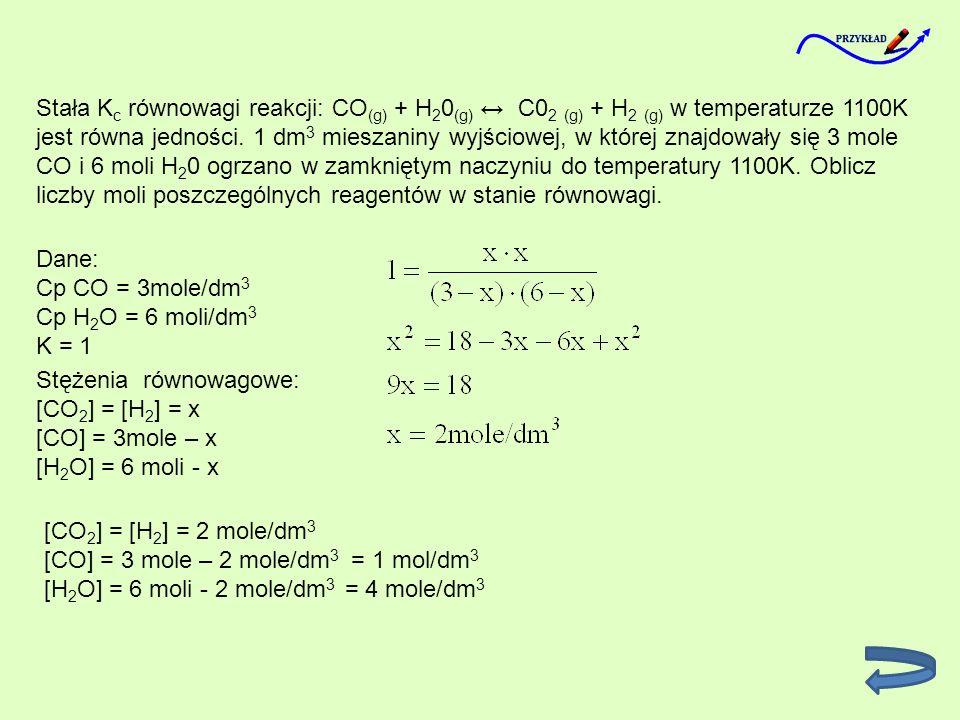 Stała Kc równowagi reakcji: CO(g) + H20(g) ↔ C02 (g) + H2 (g) w temperaturze 1100K jest równa jedności. 1 dm3 mieszaniny wyjściowej, w której znajdowały się 3 mole CO i 6 moli H20 ogrzano w zamkniętym naczyniu do temperatury 1100K. Oblicz liczby moli poszczególnych reagentów w stanie równowagi.