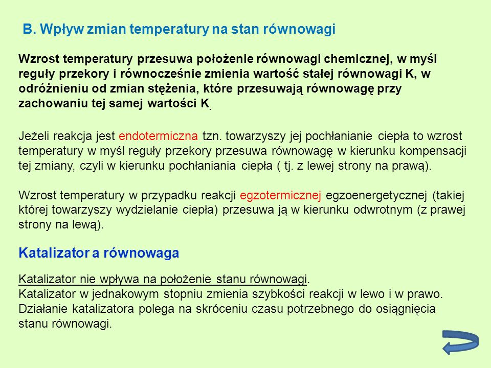 B. Wpływ zmian temperatury na stan równowagi