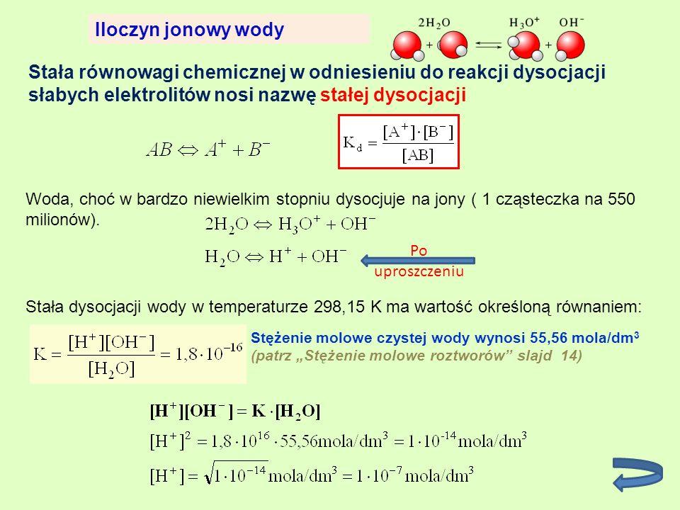 Iloczyn jonowy wody Stała równowagi chemicznej w odniesieniu do reakcji dysocjacji słabych elektrolitów nosi nazwę stałej dysocjacji.