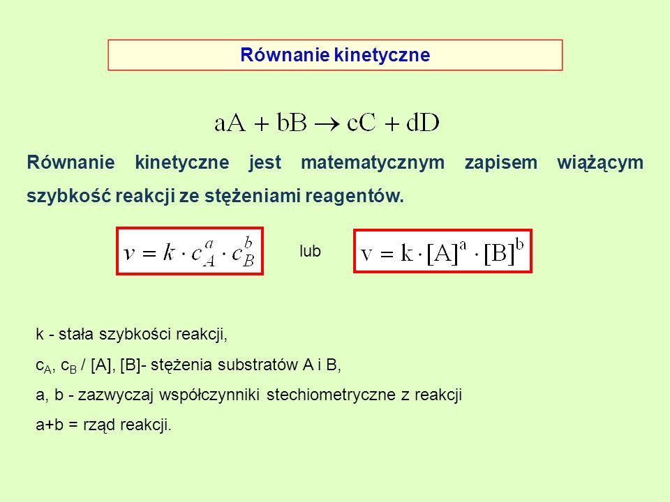 Równanie kinetyczne Równanie kinetyczne jest matematycznym zapisem wiążącym szybkość reakcji ze stężeniami reagentów.