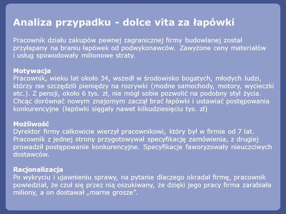 Analiza przypadku - dolce vita za łapówki