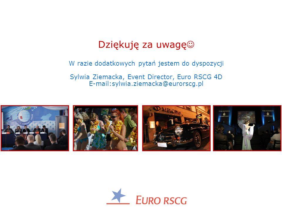 Dziękuję za uwagę W razie dodatkowych pytań jestem do dyspozycji Sylwia Ziemacka, Event Director, Euro RSCG 4D E-mail:sylwia.ziemacka@eurorscg.pl