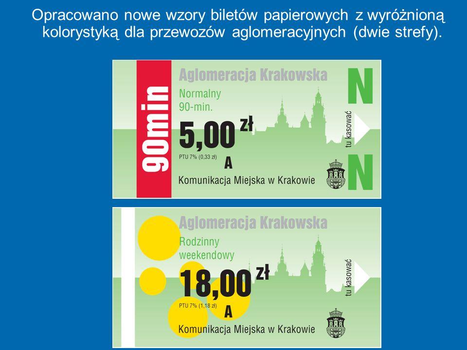 Opracowano nowe wzory biletów papierowych z wyróżnioną kolorystyką dla przewozów aglomeracyjnych (dwie strefy).