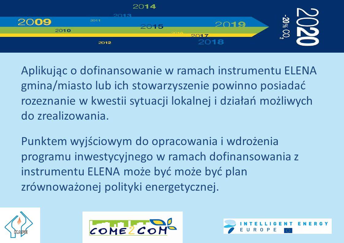 Aplikując o dofinansowanie w ramach instrumentu ELENA gmina/miasto lub ich stowarzyszenie powinno posiadać rozeznanie w kwestii sytuacji lokalnej i działań możliwych do zrealizowania.