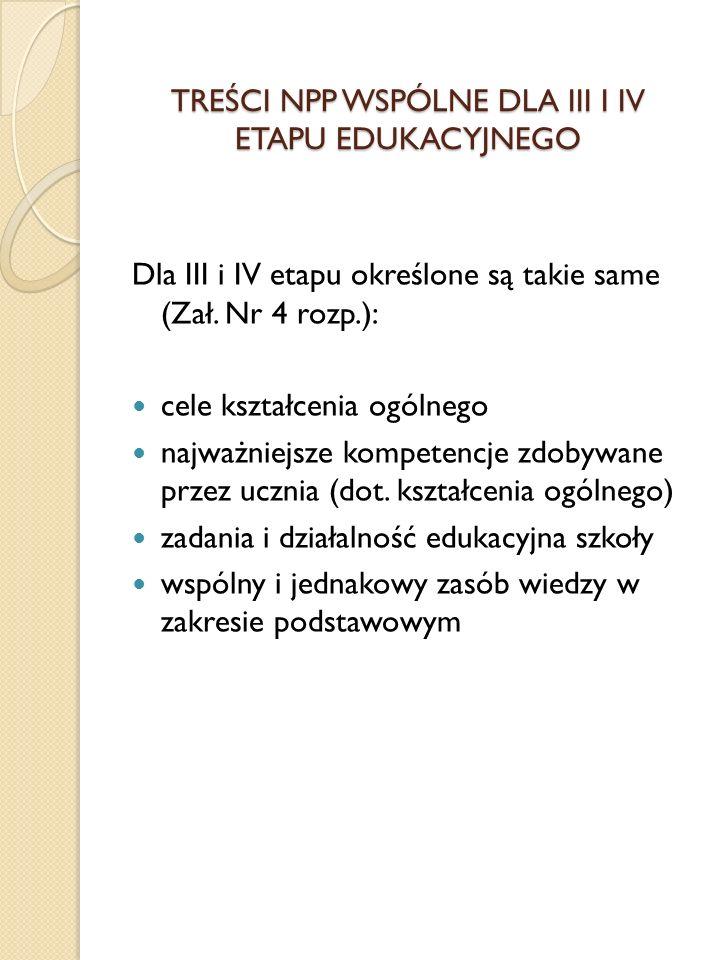 TREŚCI NPP WSPÓLNE DLA III I IV ETAPU EDUKACYJNEGO