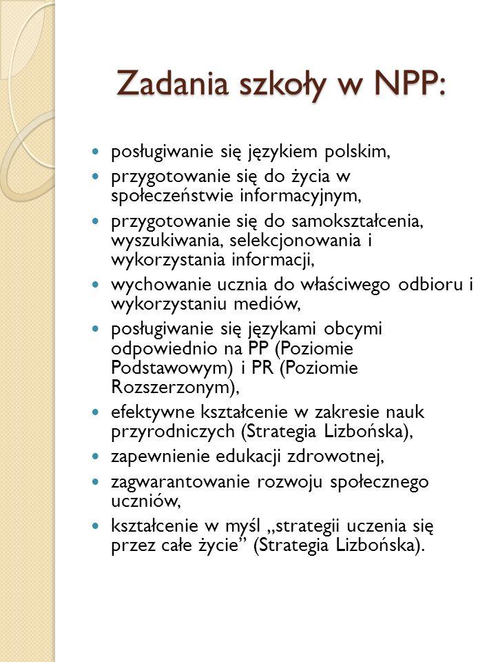 Zadania szkoły w NPP: posługiwanie się językiem polskim,