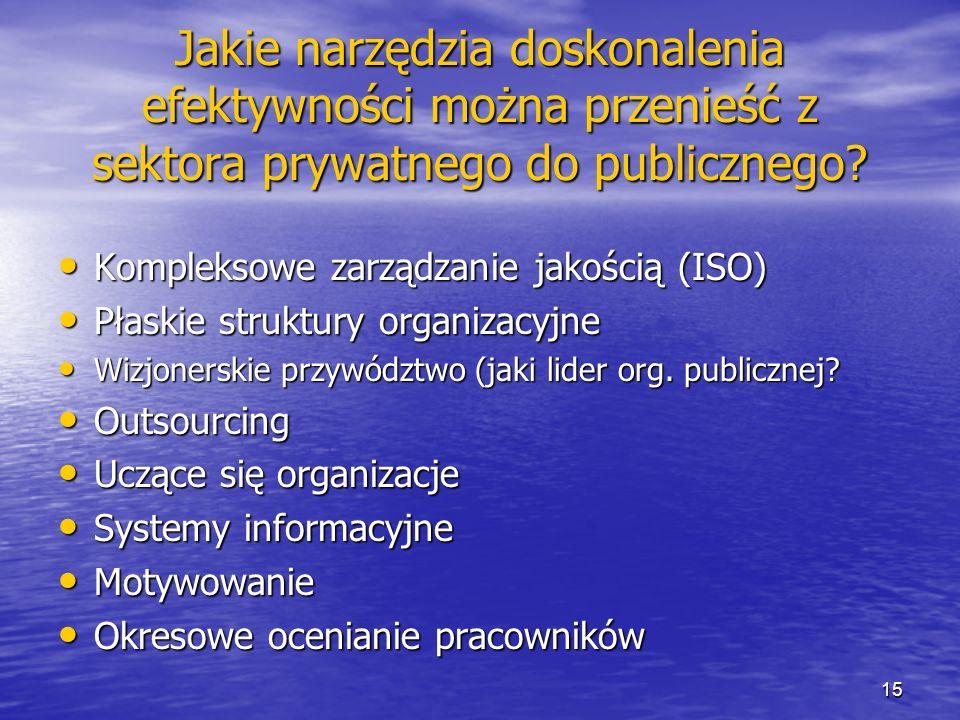 Jakie narzędzia doskonalenia efektywności można przenieść z sektora prywatnego do publicznego