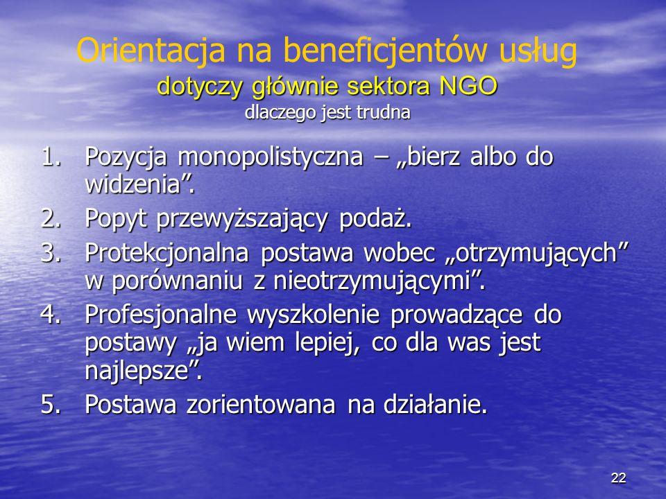 Orientacja na beneficjentów usług dotyczy głównie sektora NGO
