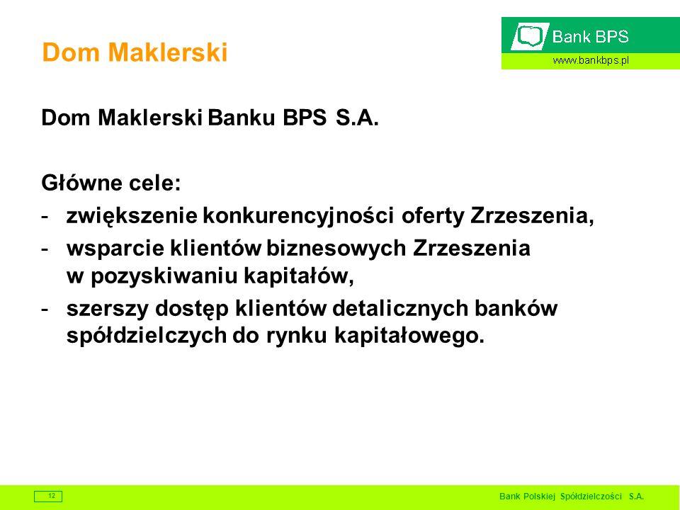 Dom Maklerski Dom Maklerski Banku BPS S.A. Główne cele: