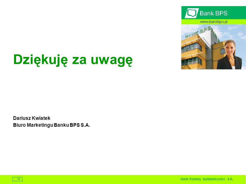 Dziękuję za uwagę Dariusz Kwiatek Biuro Marketingu Banku BPS S.A.