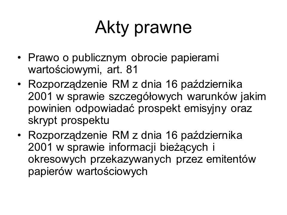 Akty prawne Prawo o publicznym obrocie papierami wartościowymi, art. 81.
