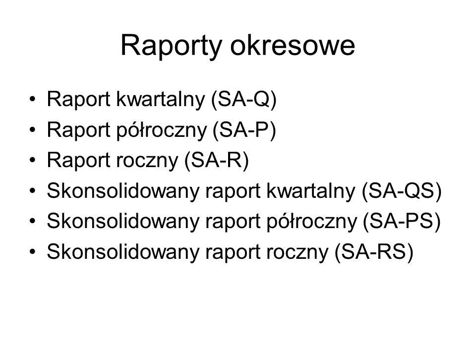 Raporty okresowe Raport kwartalny (SA-Q) Raport półroczny (SA-P)