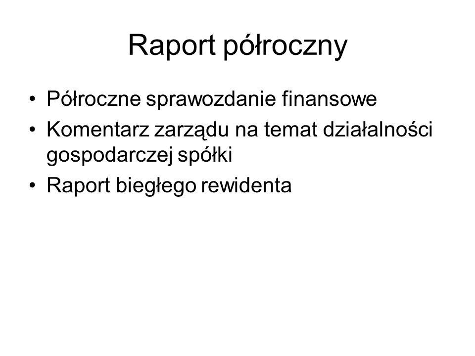 Raport półroczny Półroczne sprawozdanie finansowe