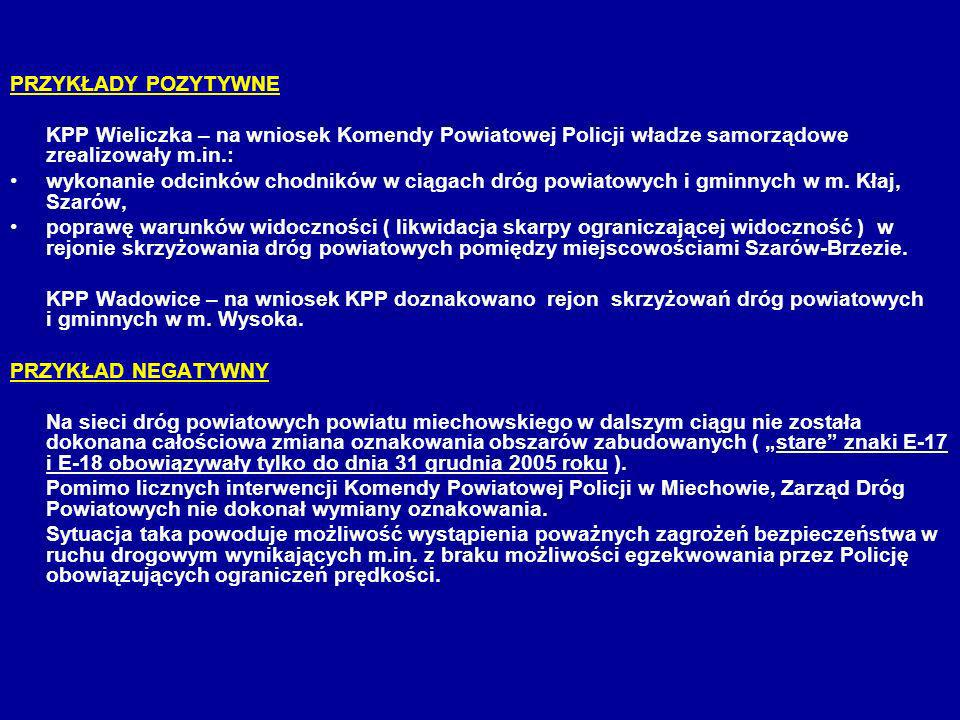 PRZYKŁADY POZYTYWNE KPP Wieliczka – na wniosek Komendy Powiatowej Policji władze samorządowe zrealizowały m.in.:
