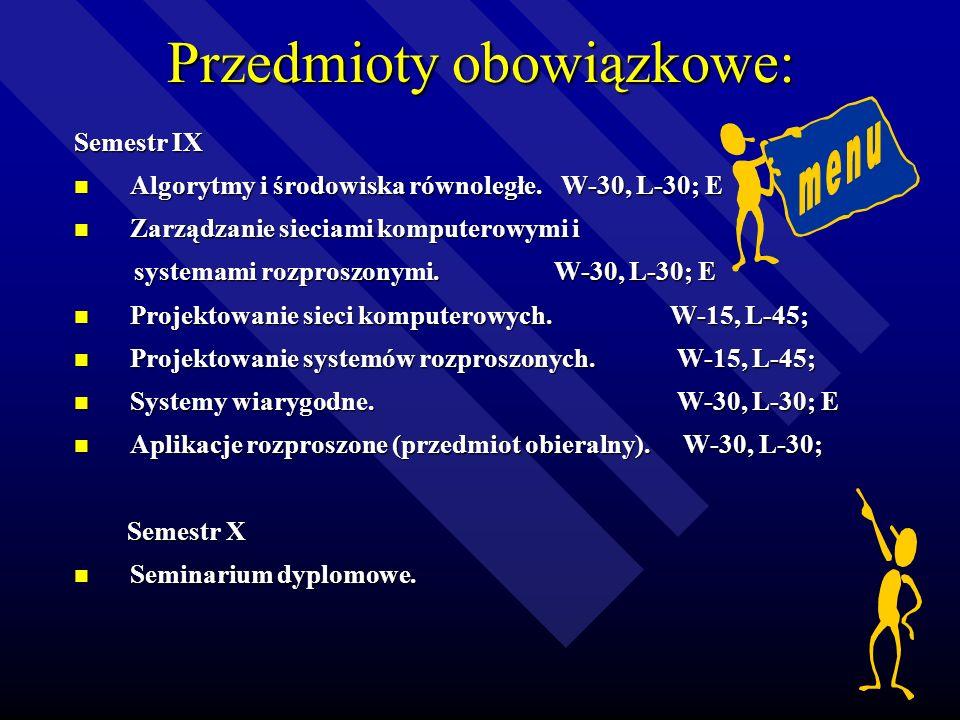 Przedmioty obowiązkowe: