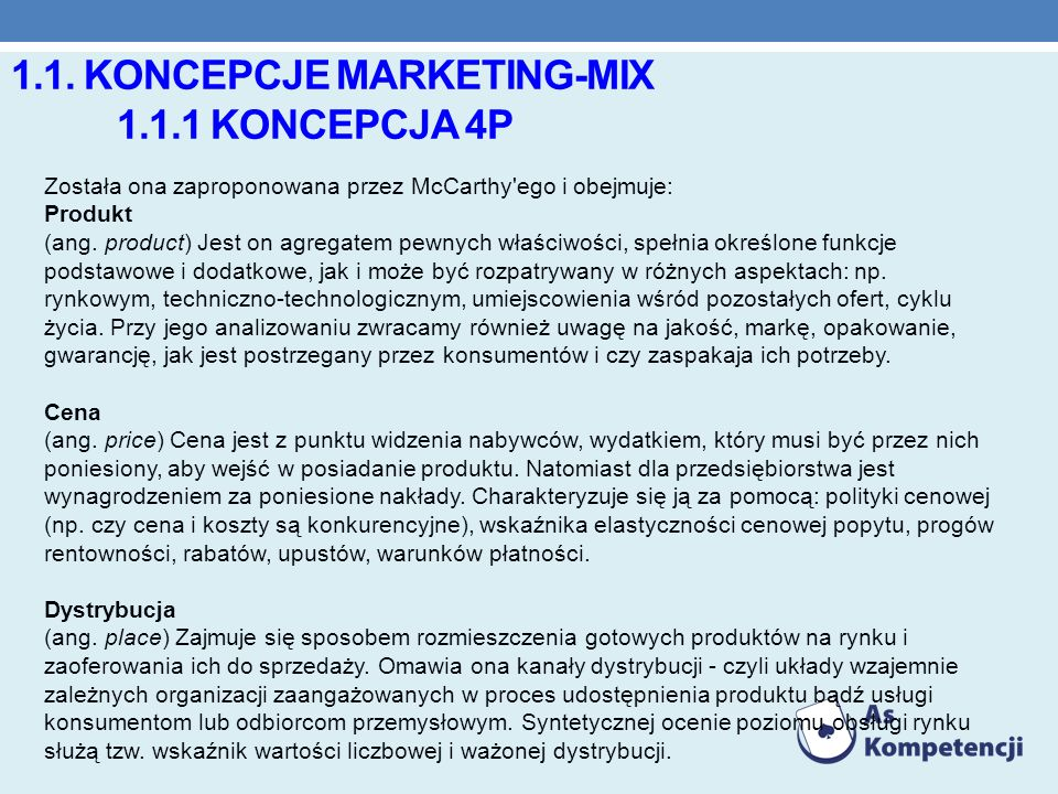 1.1. koncepcje marketing-mix 1.1.1 Koncepcja 4P