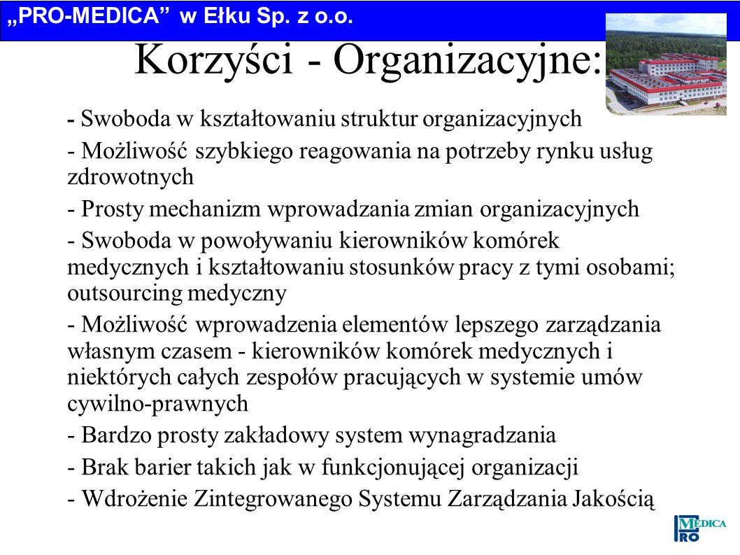 Korzyści - Organizacyjne: