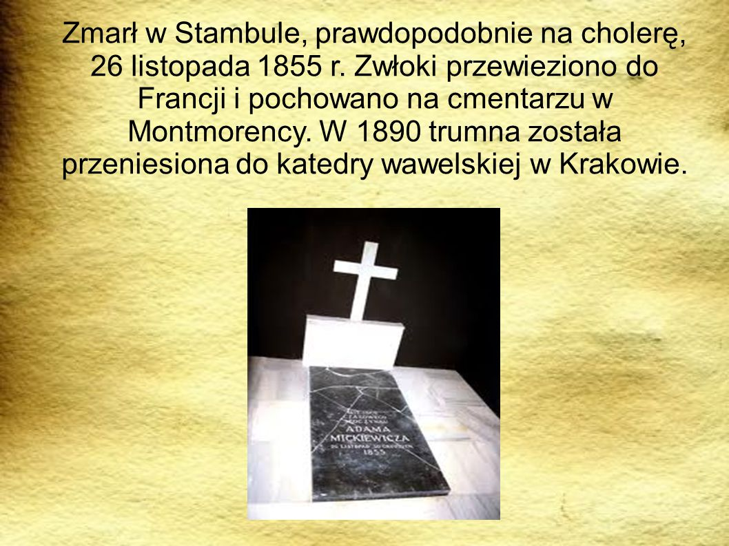 Zmarł w Stambule, prawdopodobnie na cholerę, 26 listopada 1855 r