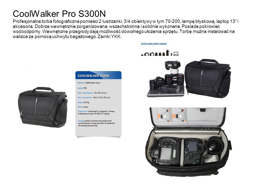 CoolWalker Pro S300N Profesjonalna torba fotograficzna pomieści 2 lustrzanki, 3/4 obiektywy w tym 70-200, lampę błyskową, laptop 13 i akcesoria.