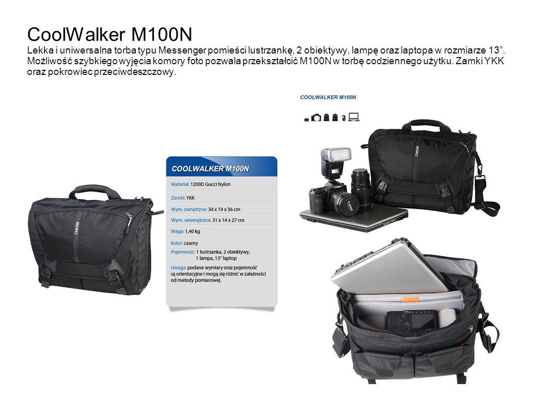 CoolWalker M100N Lekka i uniwersalna torba typu Messenger pomieści lustrzankę, 2 obiektywy, lampę oraz laptopa w rozmiarze 13 .